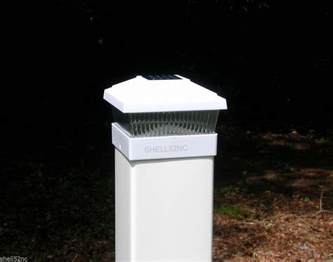 white solar fence post cap lights outdoor decorations