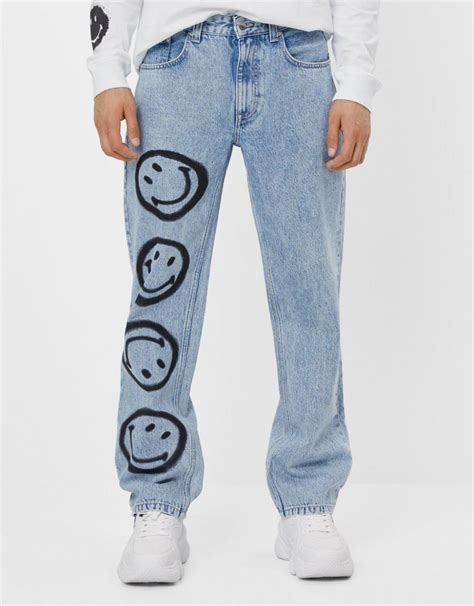 mens jeans bershka  smiley jeans light blue  grantzau