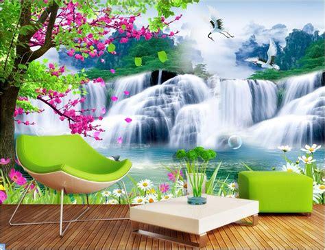 Custom Mural 3d Photo Wallpaper Mountain Waterfall Lake