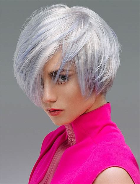 grey hair color asymmetrical bob hairstyles  hair colors
