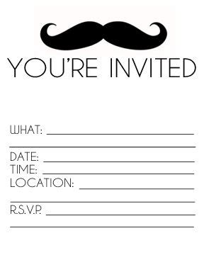 printable mustache invitation mustache birthday