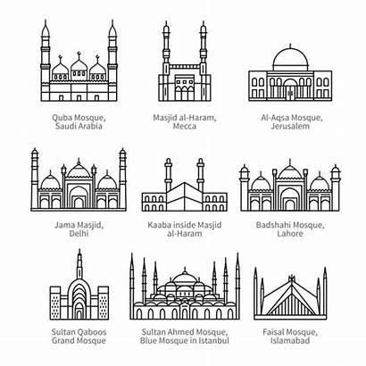 Mosque Aqsa Al Vector Illustrations Famous Clip
