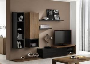 Meuble Design Tv Mural : ensemble meuble tv mural notte mobilier design pour salon bois ~ Teatrodelosmanantiales.com Idées de Décoration