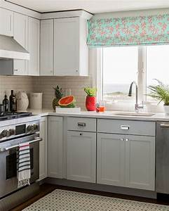 gray cabinets contemporary kitchen katie rosenfeld With best brand of paint for kitchen cabinets with high end wall art
