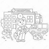 Hospital Kleurplaat Coloring Cartoon Outline Drawing Ziekenhuis Doktor Boyama Ambulance Doctor Overzicht Pagina Colorare Colorir Disegni Desenho Buurt Arts Het sketch template