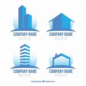 Modern flat real estate logos in blue color Vector | Free ...
