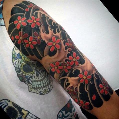 cerisier japonais tatouage noir  blanc tatouage
