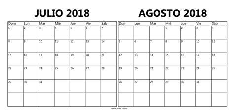 julio agosto calendario