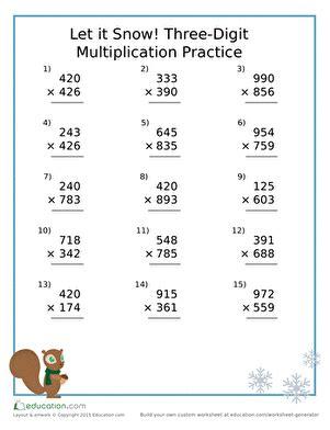 snow  digit multiplication practice