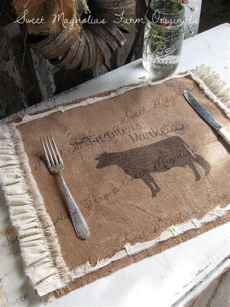 country kitchen placemats burlap table placemats cow quot farmer s market quot kitchen 2862