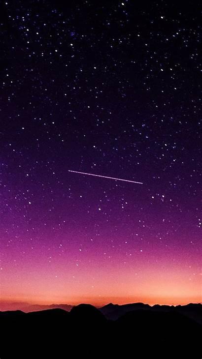 Nature Sky Night Purple Galaxy Star Mountain