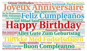 Happy Birthday in different languages Stock Photo