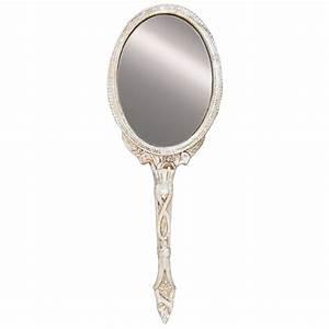 Miroir a main baroque argenté pour coiffeuse de charme