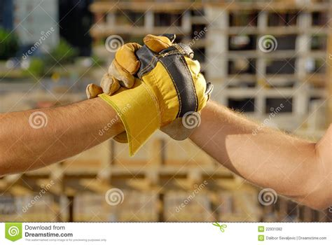 construction deal handshake stock photography image