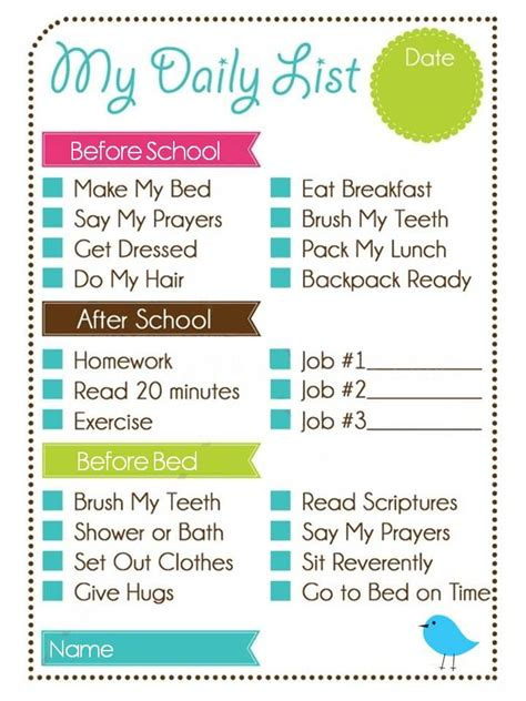 printable weekly chore chart kids daily list and chore chart printables hacks