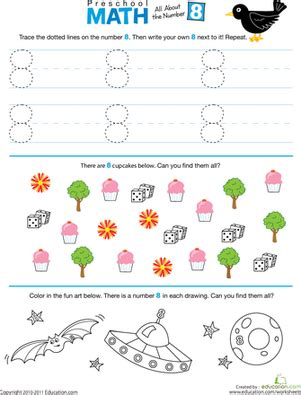 preschool math all about the number 8 worksheet 414 | preschool math number 8 counting