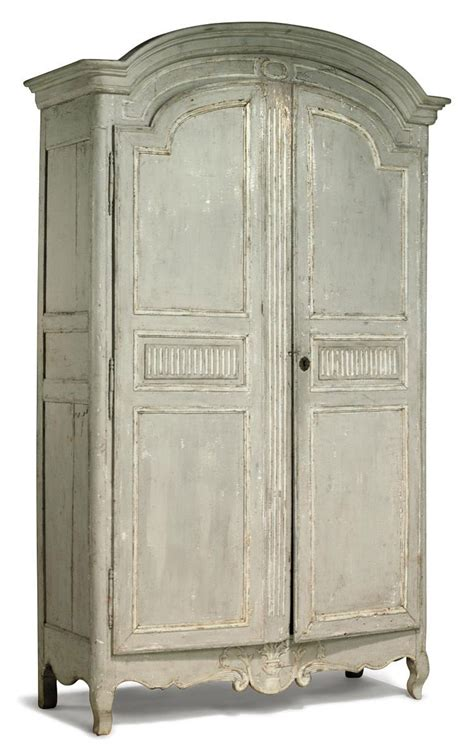french provincial grey painted armoire late