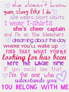music, taylor swift, words, you belong with me - image ...