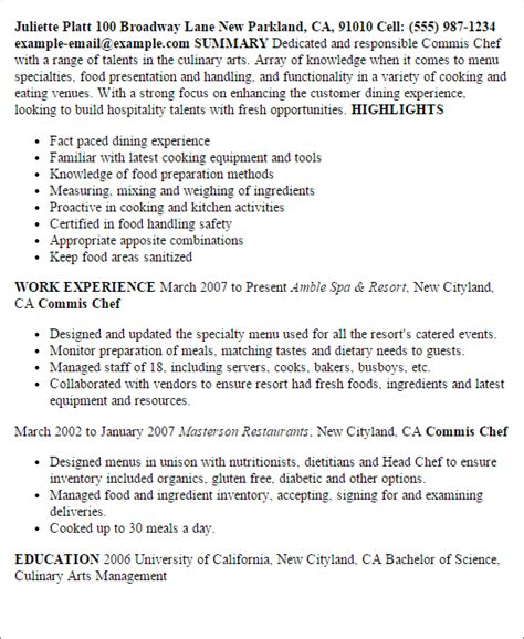 Commis Chef Resume Exles by Professional Commis Chef Templates To Showcase Your Talent Myperfectresume