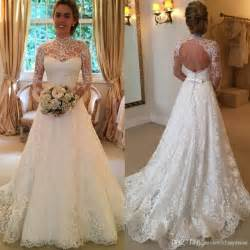 www wedding dresses 2016 vintage lace wedding dresses sleeve backless country sheer bridal gowns high neck