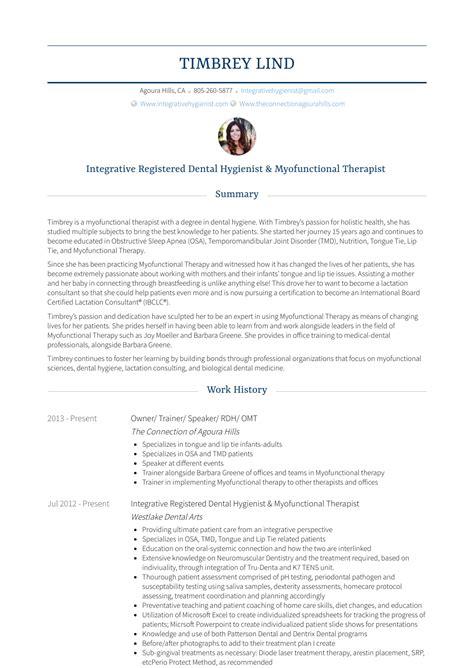 Sle Dental Resume by Dental Hygienist Resume Sles Templates Visualcv
