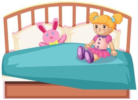 cute toys  bed   vectors clipart graphics