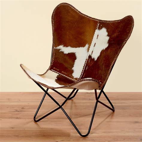 chaise africaine fauteuil marron blanc peau de vache fourrure cuir