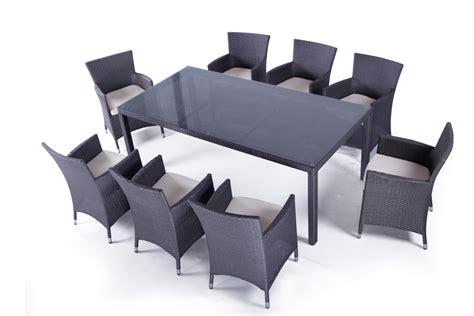table et fauteuil de jardin en resine tressee ensemble table et fauteuils de jardin en resine tressee noir pas cher 8 places mykonos