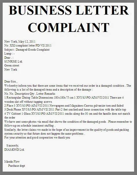 business letter business letter complaint