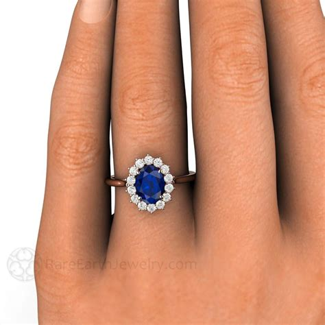 blue sapphire and wedding ring oval cut halo earth jewelry