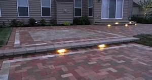 Paver patio with led lighting landscaping outdoor