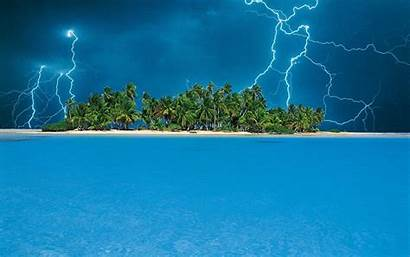 Tropical Island Desktop Storm Wallpapers Lightning Nature