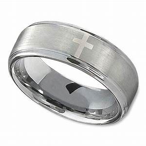 Christian Wedding Ring In 8mm With Polished Cross