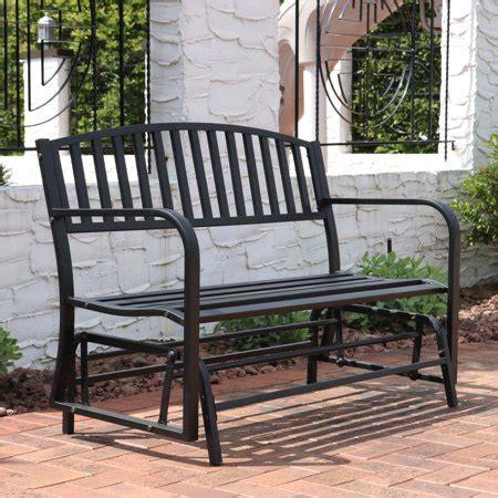outdoor glider bench sunnydaze 50 inch outdoor black steel patio glider bench