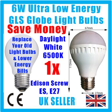 6w led gls globe low energy 6500k daylight white light