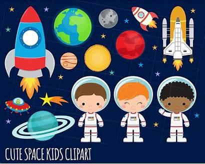 Astronaut Space Outer Clipart Rocket Alien Aliens