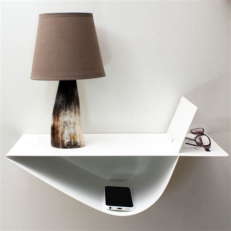 etagere table de nuit chevet suspendu design blanc chevet mural table de nuit
