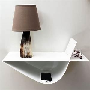 chevets suspendus design blanc table de chevet moderne lot With table de nuit moderne