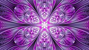 Download, Wallpaper, 1366x768, Fractal, Flower, Abstraction, Bright, Purple, Digital, Tablet, Laptop