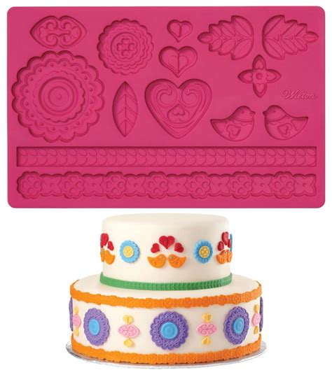 Pered Chef Easy Accent Decorator Uk by Wilton Fondant Gum Paste Mold Imprinted Texture Cake
