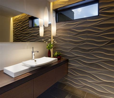 Kitchen Window Decorating Ideas - splashy single hole bathroom faucet in bathroom contemporary with wave wall next to vanity