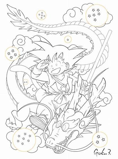 Shenron Sangoku Lineart Pintar Ball Goku Deviantart