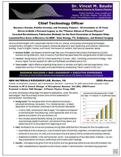 Best Cto Resume by Resume Sles Chief Technology Officer Cto Physics