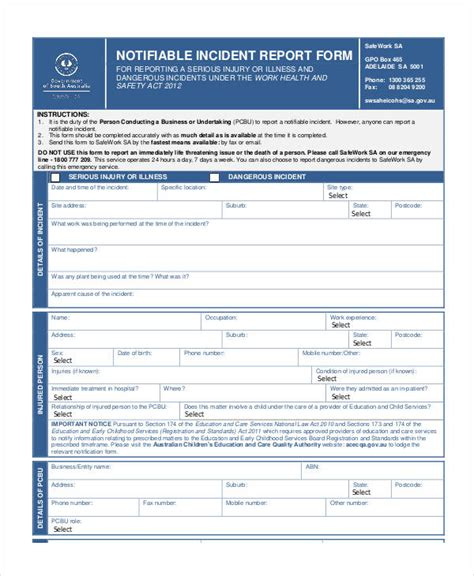 Fire Incident Report Forms Templates