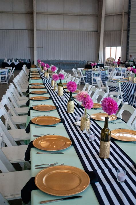 Black And White Striped Wedding Mint And Gold Wedding