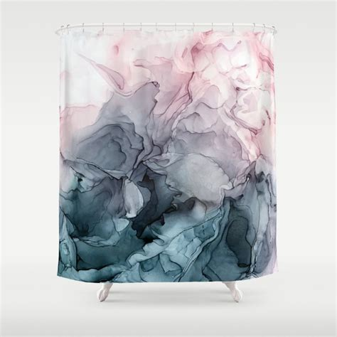 blush  paynes grey flowing abstract painting shower
