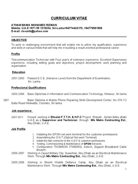 Flagger Duties For Resume by Ftth Technician Cv New Upgraded