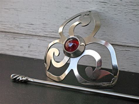 Red Triskelion Barrette