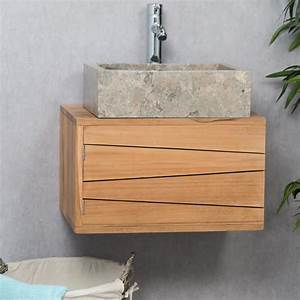 meuble sous vasque simple vasque suspendu en bois teck With meuble salle de bain en teck suspendu