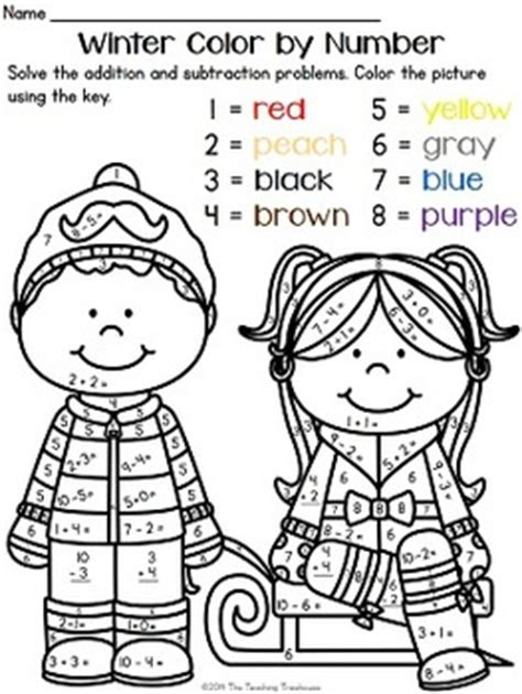 winter color  number addition subtraction